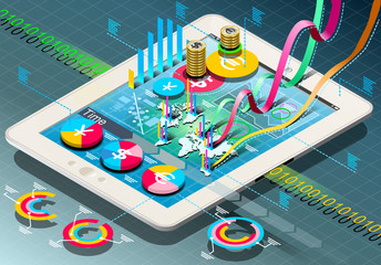 Isometric Business Infographic on Tablet