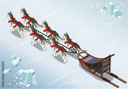 Isometric sled dogs in Rear View on Ice
