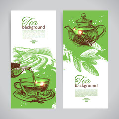 Set of tea vintage banners. Hand drawn sketch illustrations