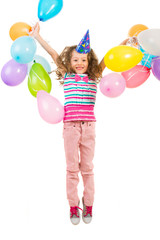 Happy  joyful girl jumping with balloons