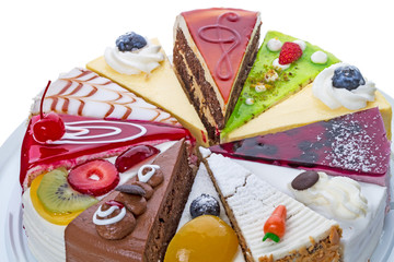 Different pieces of cake close-up