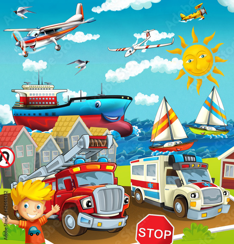 Cartoon street - illustration for the children - 62644342