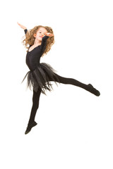Little ballerina girl jumping