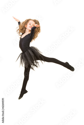 Little ballerina girl jumping