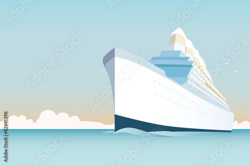 Retro style white cruise ship on the ocean