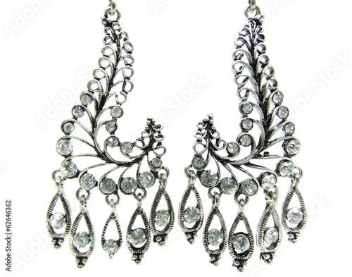 jewelry earrings with bright crystals