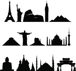 Famous monuments of the world vector set