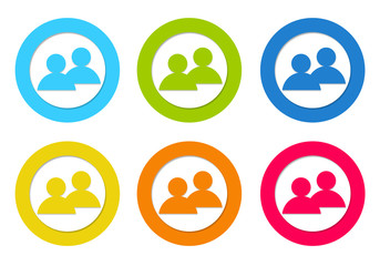Set of rounded icons with people symbol