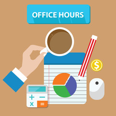 Office hours concept,vector