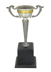 Champion Vintage Silver trophy isolated, With clipping path