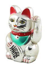Silver Maneki Neko Japan Lucky Cat, Isolated with Clipping path