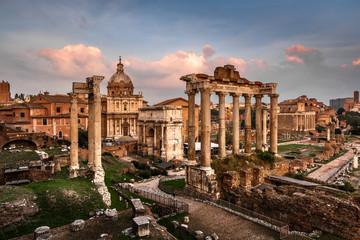 Roman Forum (Foro Romano) and Ruins of Septimius Severus Arch an