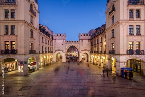 Leinwandbild Motiv Karlstor Gate and Karlsplatz Square in the Evening, Munich, Germ