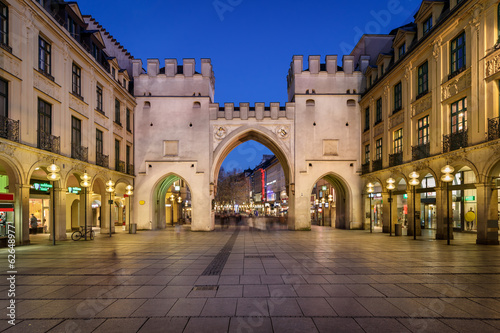 Karlstor Gate and Karlsplatz Square in the Evening, Munich, Germ
