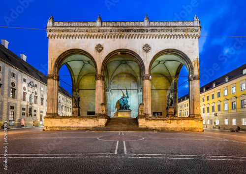 Odeonplatz and Feldherrnhalle in the Evening, Munich, Bavaria, G