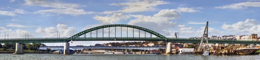 Belgrade Panorama - Old Sava's Bridge and Branko's Bridge With T