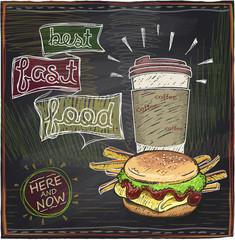 Chalkboard design with hamburger, french fries and coffee.