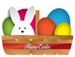 Happy Easter Rabbit Bunny and Eggs in Basket