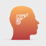 Human head with hand drawn gun icon