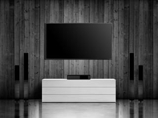 modern interior with home cinema system
