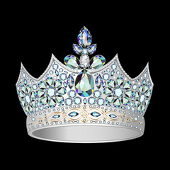 decorative crown of silver and precious stones