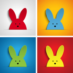 Happy Easter Rabbit Bunny Set Cartoon