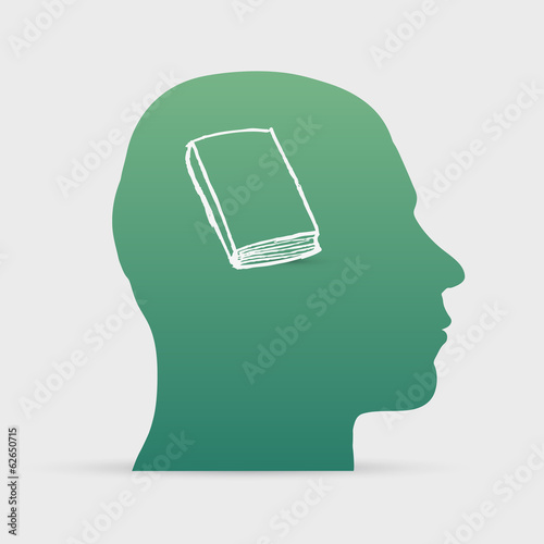 Human head with hand drawn book icon