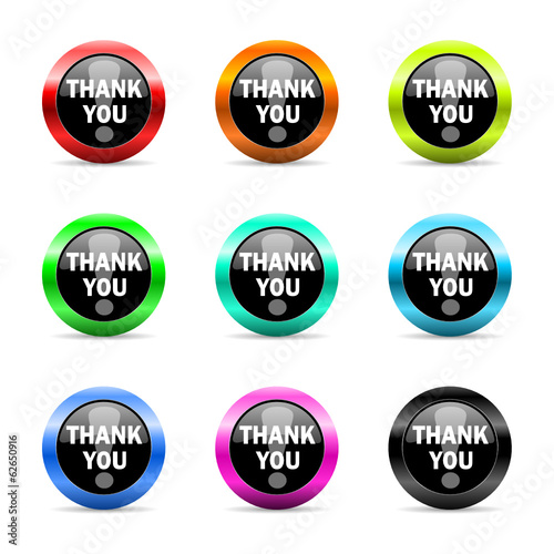 thank you icon vector set