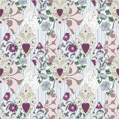 Patchwork seamless retro floral pattern