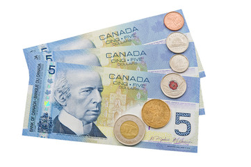 Coins and colorful bills of Canada.