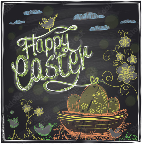 Easter graphic on a chalkboard.