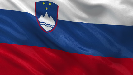 Flag of Slovenia waving in the wind - seamless loop
