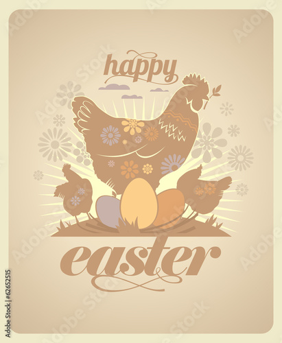 Easter vintage design with hens and eggs.