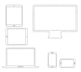 Hand-drawn outlined modern electronic devices vector
