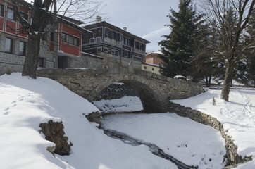 Stone bridge and old ancient houses in Koprivshtitsa, Bulgaria
