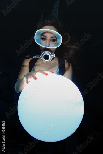 Scuba woman with sphere underwater Poster