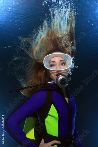 Scuba woman with long hair underwater