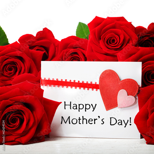 Mothers day message with red roses