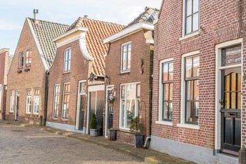 Traditional Dutch houses in a small village