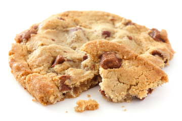Large light chocolate chip cookie broken