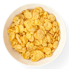 Bowl of cornflakes on white surface