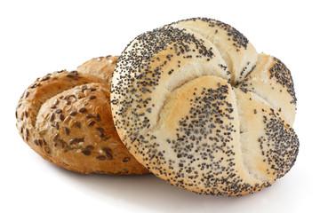 White poppy seed Kaiser bread roll