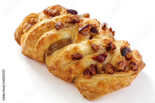 Pecan nuts and maple syrup Danish pastry
