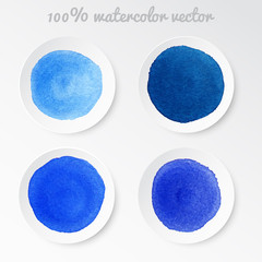 Set real watercolor circle blue tones vector
