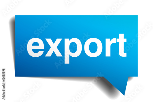 export blue 3d realistic paper speech bubble isolated on white
