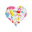 pills and capsule in heart