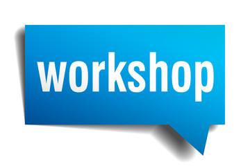 Workshop blue 3d realistic paper speech bubble on white