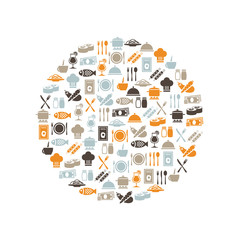 restaurant icons in circle