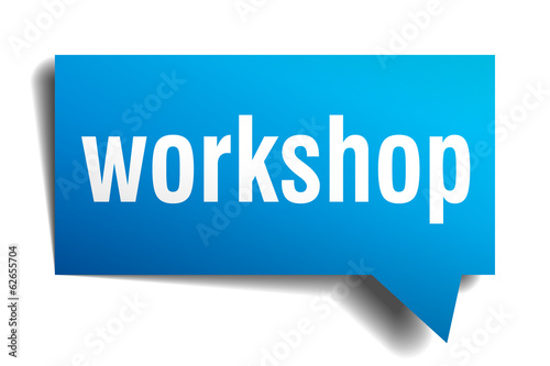 Workshop blue 3d realistic paper speech bubble on white