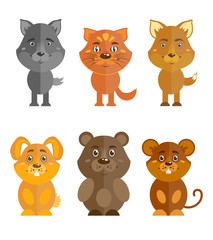 Wild and domestic animal icons set